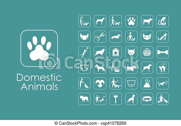 Set von Haustieren einfache Ikonen - csp41078269