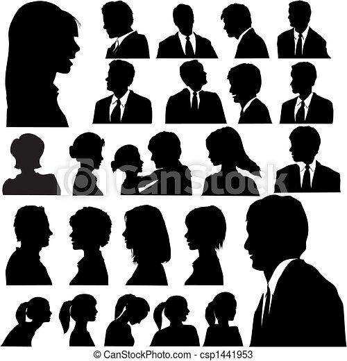 Einfache Silhouette-Porträte - csp1441953