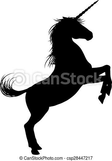 Einhornpferde Silhouette. - csp28447217