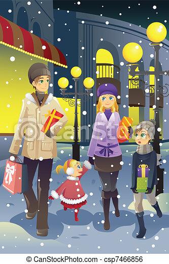 Einkaufsfamilie im Winter - csp7466856