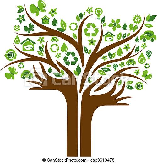 Ekologische Ikonenbaum mit zwei Händen - csp3619478
