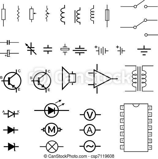 Elektronische Symbole - csp7119608