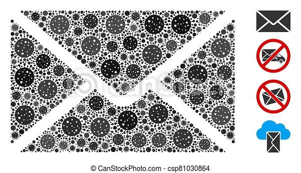 elemente, briefkuvert, collage, coronavirus, post - csp81030864