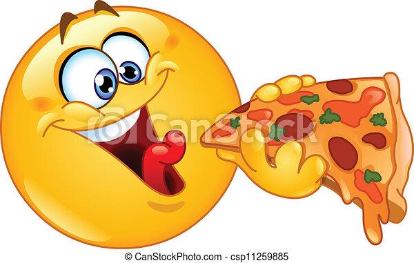 Emoticon isst Pizza - csp11259885