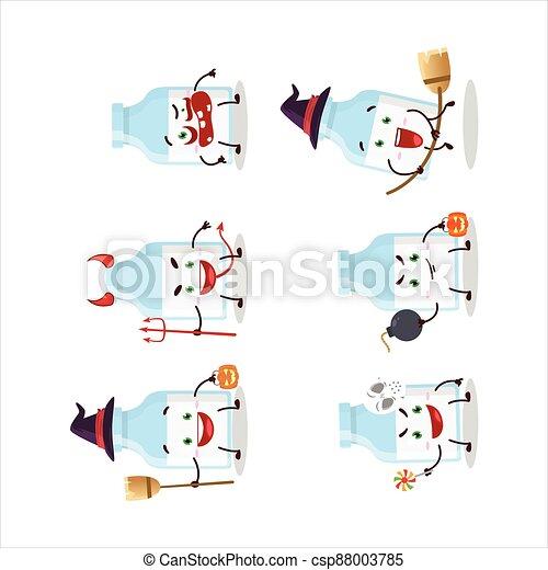 emoticons, milch, karikatur, ausdruck, flasche, halloween, zeichen - csp88003785