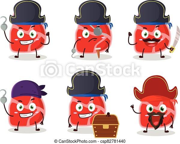 emoticons, verschieden, zeichen, piraten, fleisch, karikatur - csp82781440