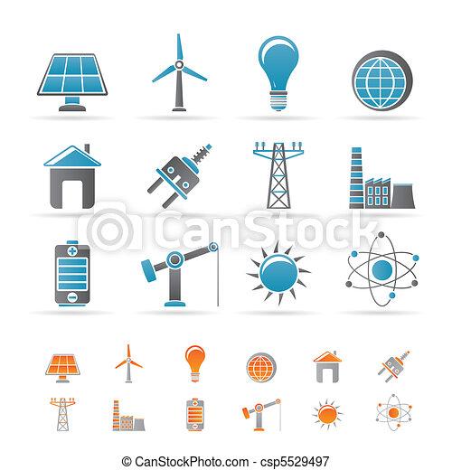 Energie, Energie und elektrische Ikonen - csp5529497