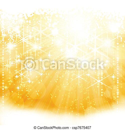 Entferne goldenes funkelndes Licht mit Sternen und verschwommenen Lichtern - csp7675407