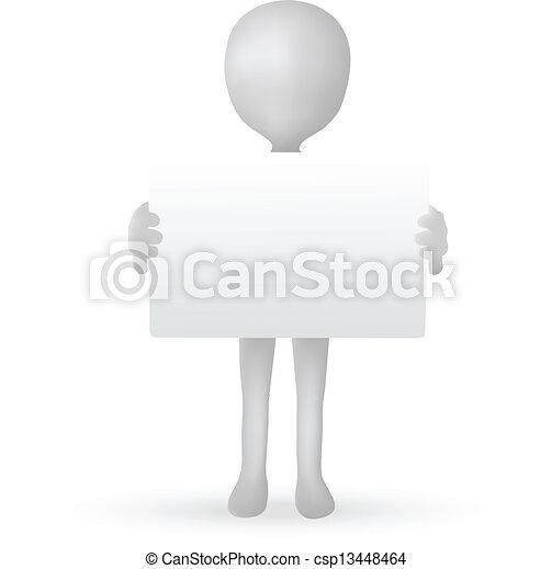 EPS Vector 10 - kleine 3D Männerhände mit einem Brett - csp13448464