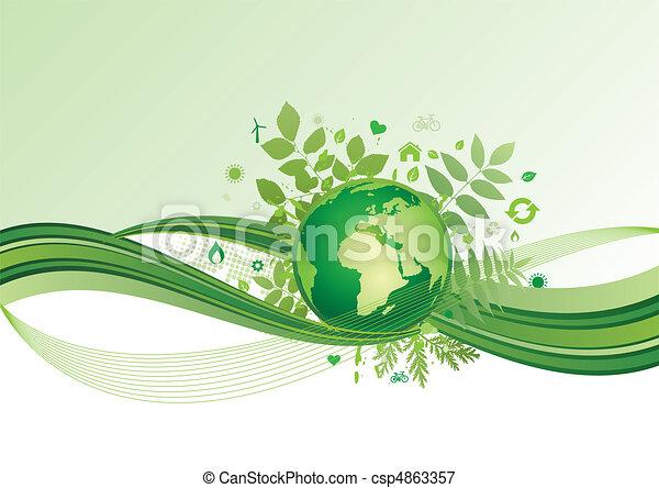 Erde und Umwelt-Icon, grüner Ba - csp4863357