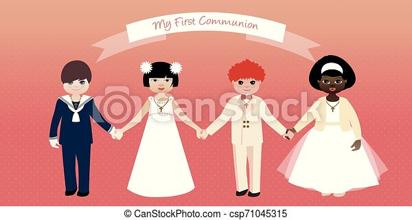 Erste Kommunion. Jungs und Mädchen, die Händchen halten - csp71045315