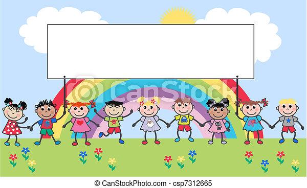 Ethnische gemischte Kinder - csp7312665