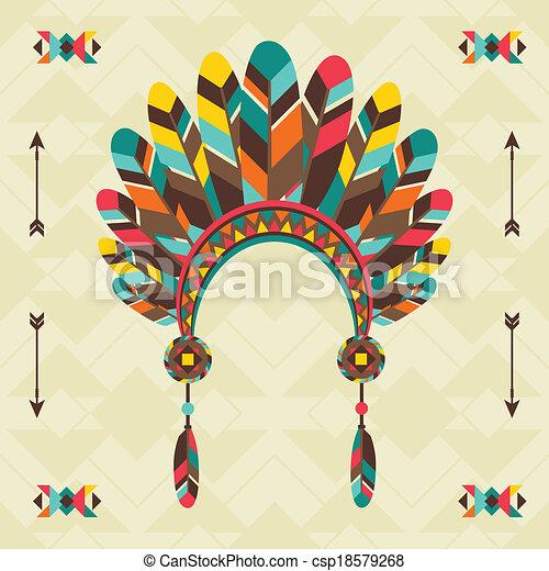 Ethnischer Hintergrund mit Kopfband in navajo Design. - csp18579268