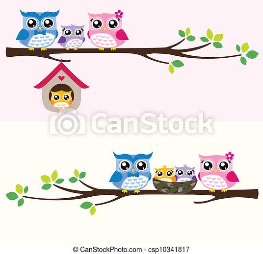 Eulen-Familien-Illustration - csp10341817