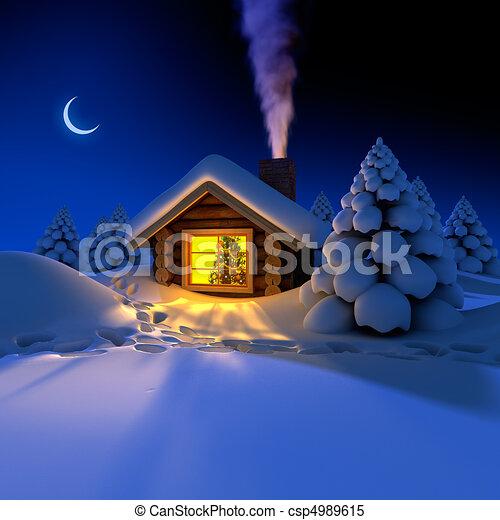 eve., ungefähr, verschneiter , spuren, schnee, jahres, hütte, klein, wald, hütte, neu , fee - csp4989615