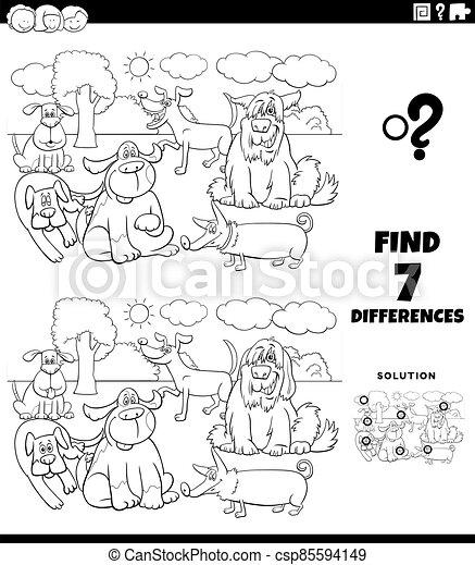 färbung, seite, hunden, buch, erzieherisch, unterschiede, spiel - csp85594149