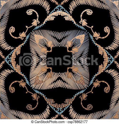 fabric., blätter, pattern., carpet., barock, grunge, blumen-, seamless, vektor, ornaments., farbenfreudige blumen, damast, beschaffenheit, stickerei, tapisserie, frames., bestickt, textured, wallpaper., hintergrund. - csp78862177