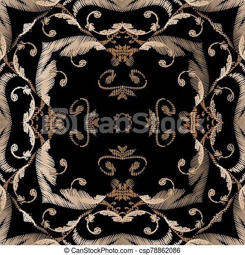 fabric., blätter, pattern., carpet., barock, grunge, blumen-, seamless, vektor, ornaments., farbenfreudige blumen, damast, beschaffenheit, stickerei, tapisserie, frames., bestickt, textured, wallpaper., hintergrund. - csp78862086