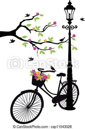 Fahrrad mit Lampe, Blumen und Baum - csp11043028