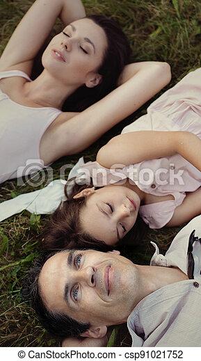 familie, genießen, park, wetter, sommer, heiter - csp91021752