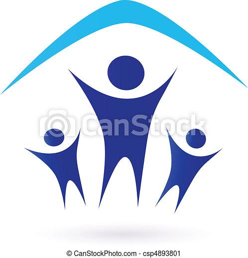 Familie unter Dach - Icon - csp4893801