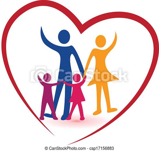 Familien- und Rotherz-Logo. - csp17156883