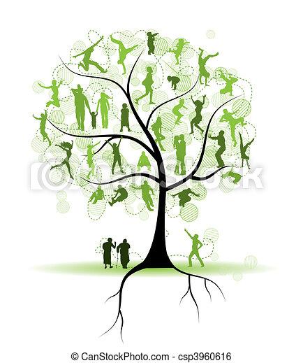 Familienstammbaum, Verwandte, Menschen Silhouette - csp3960616