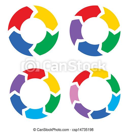 Farbkreispfeile setzen Vektor ein - csp14735198