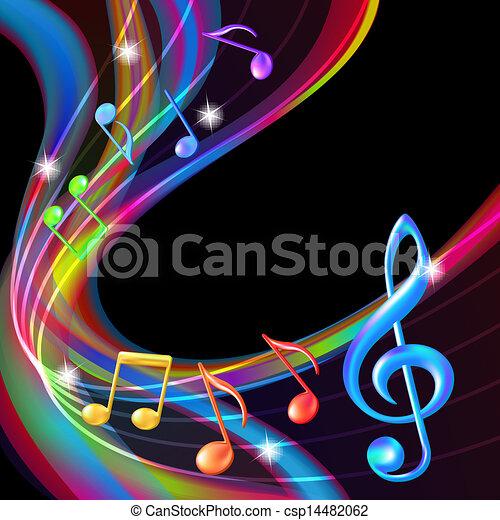 Farbige abstrakte Notizen, Musik Hintergrund. - csp14482062