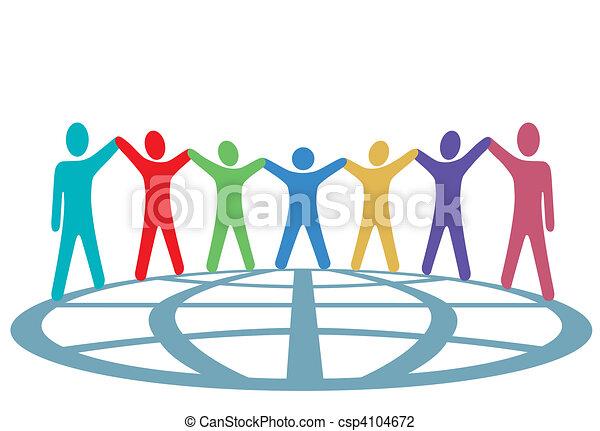 Farbige halten Hände und Arme auf dem Globus - csp4104672