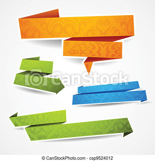 Farbige und dekorierte Papierbanner für deinen Text - csp9524012