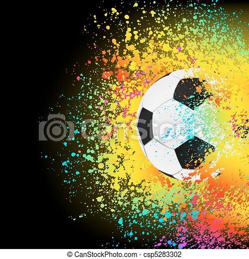 Farbiger Hintergrund mit einem Fußball. EPS 8 - csp5283302