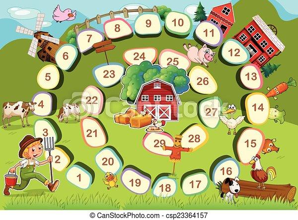Farm Brettspiel. - csp23364157