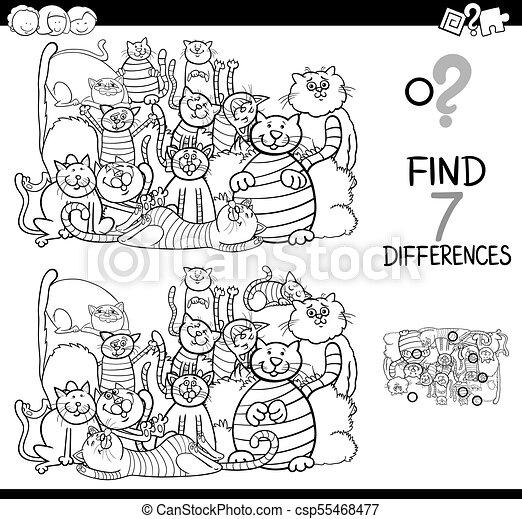 Finden Sie Unterschiede Spiel mit Katzen Farbbuch. - csp55468477