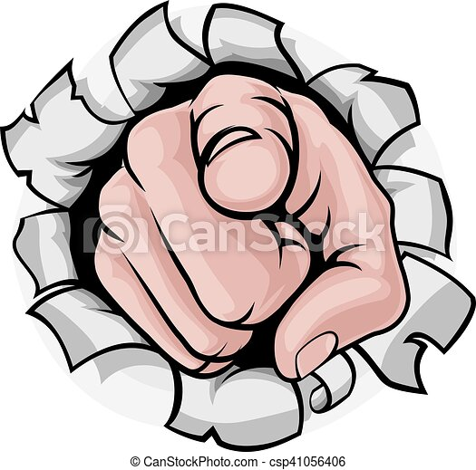 Finger zeigen Zeichentrickhand Durchbruch. - csp41056406