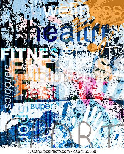 FITNESS. Ein Wort Grunge Collage im Hintergrund. - csp7555550