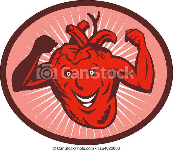 Ein glückliches und gesundes Herz, das seine Muskeln spielen lässt - csp4022800