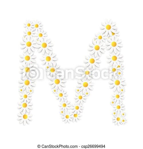 Flora Daisy Design Alphabet-Vektor illustartion. - csp26699494