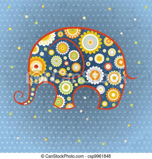 Floraler Vektor-Elefant - csp9961848