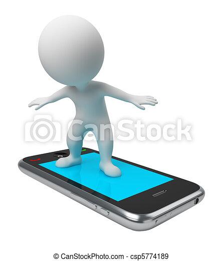 3d kleine Leute - am Telefon - csp5774189