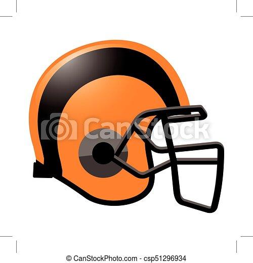 Footballhelm in orangefarben. - csp51296934