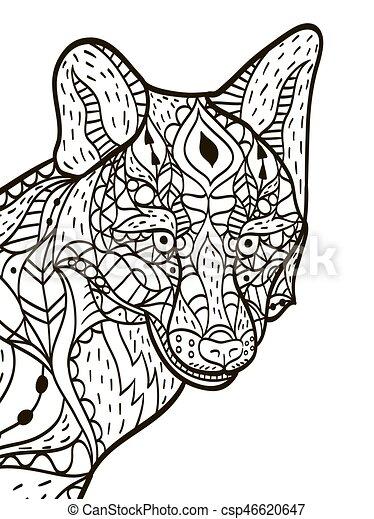 Fox Head Coloring Buch Vektor für Erwachsene - csp46620647