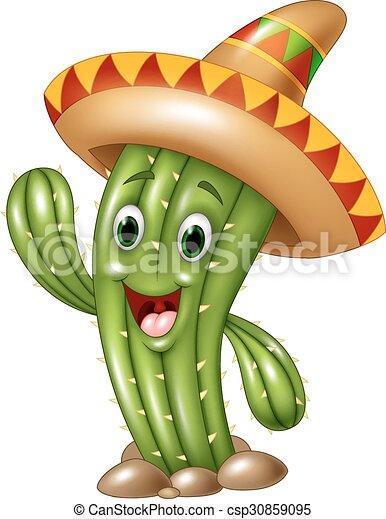 Fröhliche Kaktus, die Hand isoliert. - csp30859095