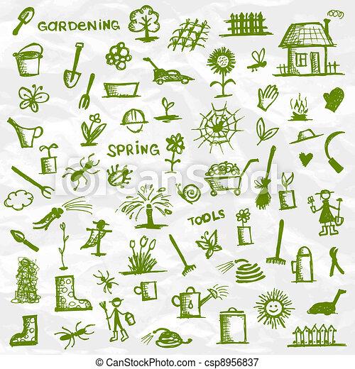 Frühling. Gartenwerkzeuge für dein Design - csp8956837