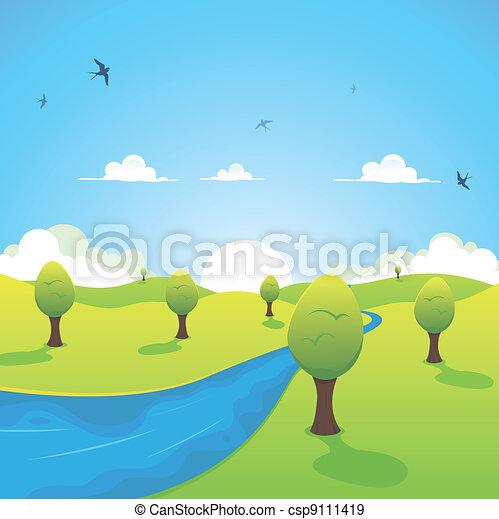 Frühling oder Sommerfluß und fliegende Schwalben - csp9111419
