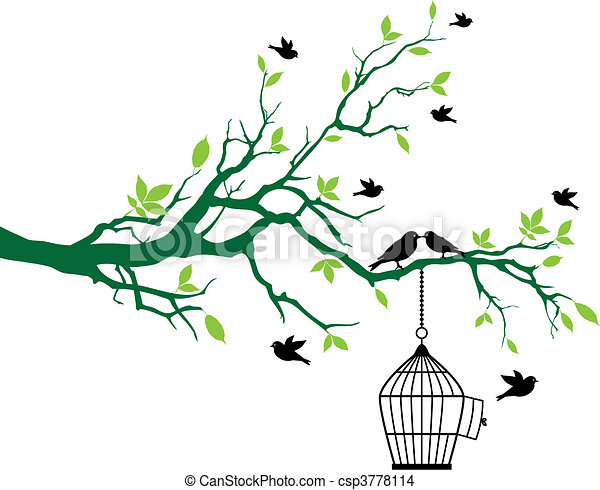Frühlingsbaum mit Vogelkäfig und Vögeln - csp3778114