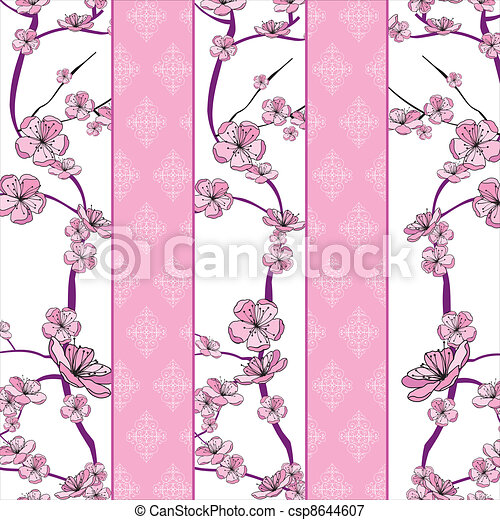 Frühlingsblumenzweigmuster - csp8644607