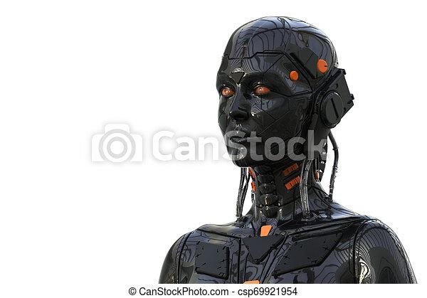 frau, cyborg, -realistic, hintergrund, -, weibliche , übertragung, android, 3d, roboter, humanoid, technologie - csp69921954
