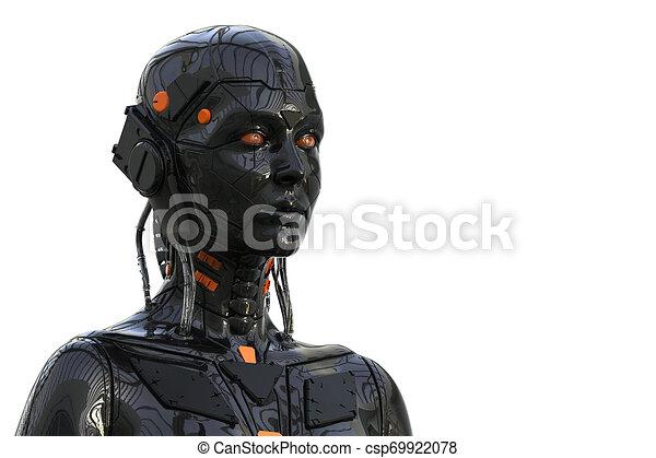 Roboter-Androide Cyborg weiblich humanoid - Technologie Hintergrund - Realistische 3D Rendering - csp69922078