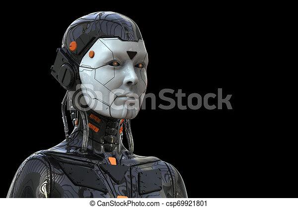 Roboter-Androide Cyborg weiblich humanoid - Technologie Hintergrund - Realistische 3D Rendering - csp69921801
